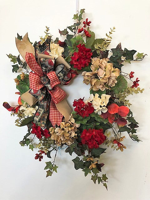 Taupe, Cream and Red Silk Floral Everyday Farmhouse Wreath/FH20 - April's Garden Wreath