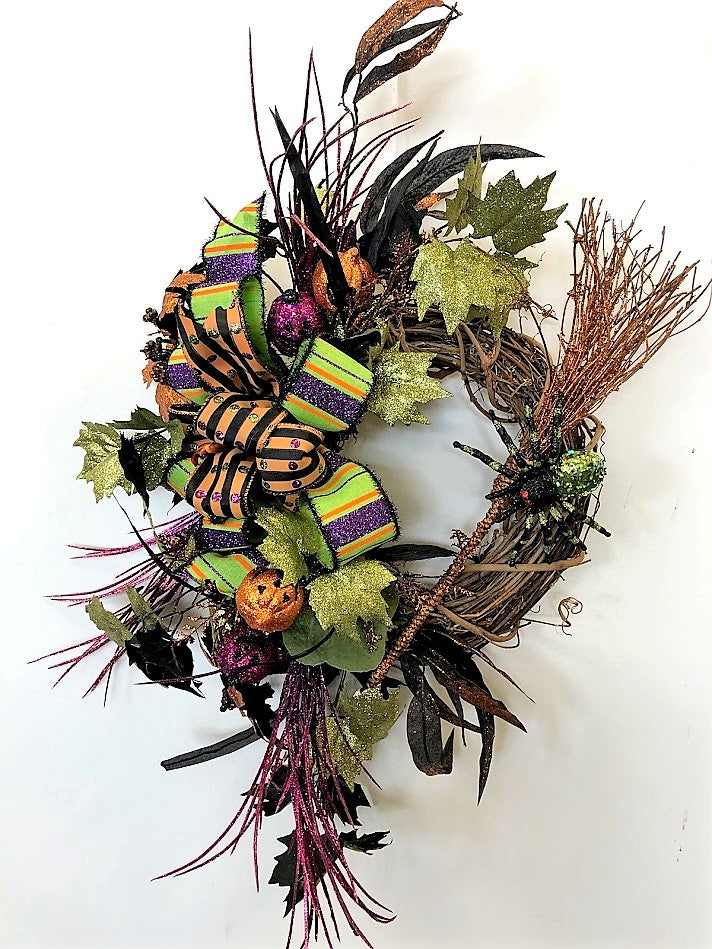 Glittery Purple, Orange and Black Halloween Large Cresent Wreath with Spooky Owl/Hal05 - April's Garden Wreath