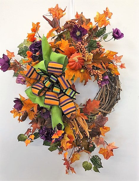 Purple and Orange Halloween Silk Floral Wreath/Hal06 - April's Garden Wreath