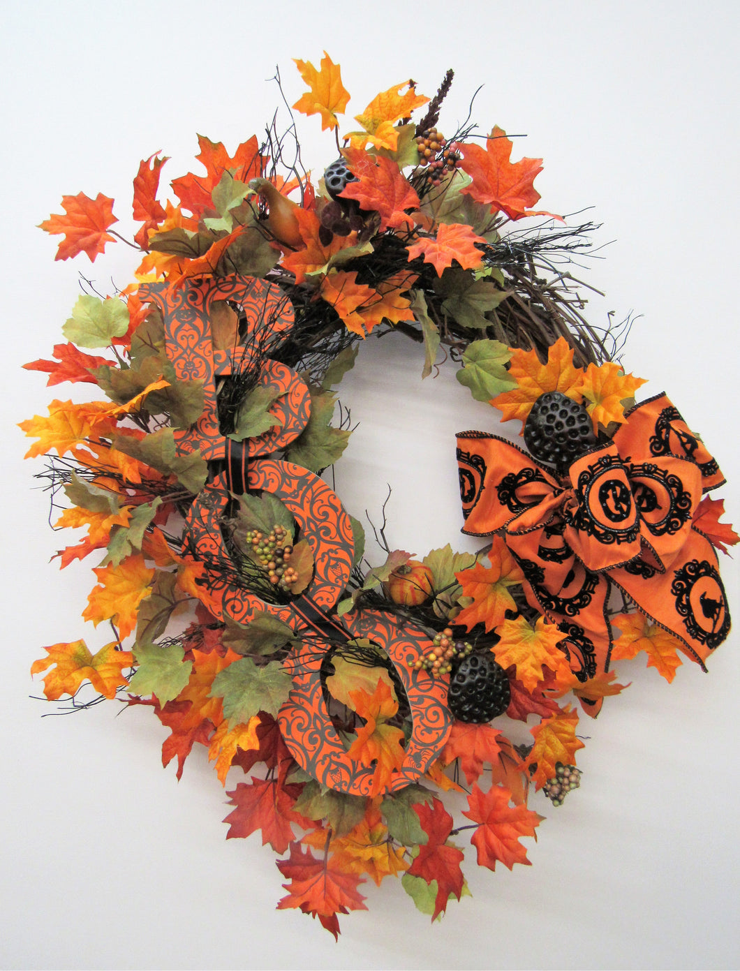 Orange and Black Halloween Wreath With Boo Plaque/Hal13 - April's Garden Wreath