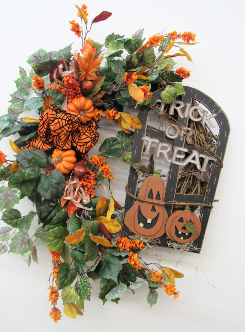 Halloween Silk Floral Wreath wtith Trick or Treat Plaque/Hal15 - April's Garden Wreath