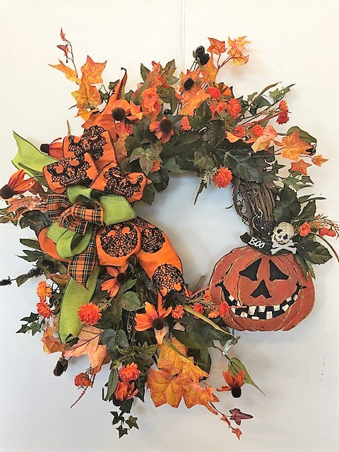Orange and Black Silk Floral Large Crescent Halloween Front Door Wreath/Hal16