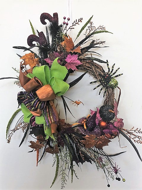 Orange, Purple and Black Gitttery Halloween Wreath/Hal20 - April's Garden Wreath