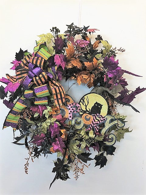 Purple and Green Glittery Halloween Wreath with Spooky Plaque/Hal27 - April's Garden Wreath
