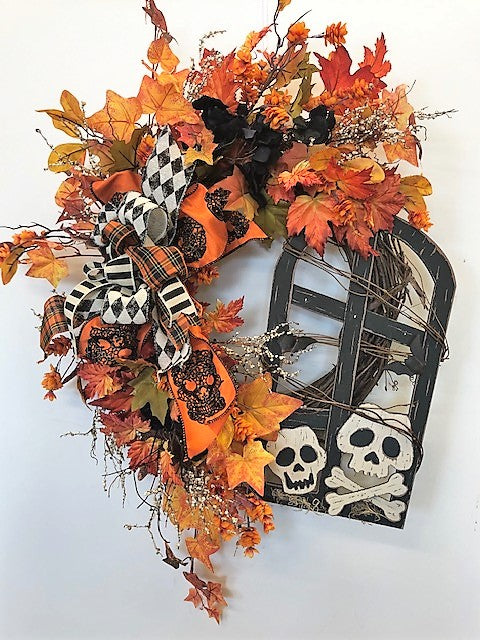 Orange and Black Silk Floral Halloween Wreath with Skulls/Hal31