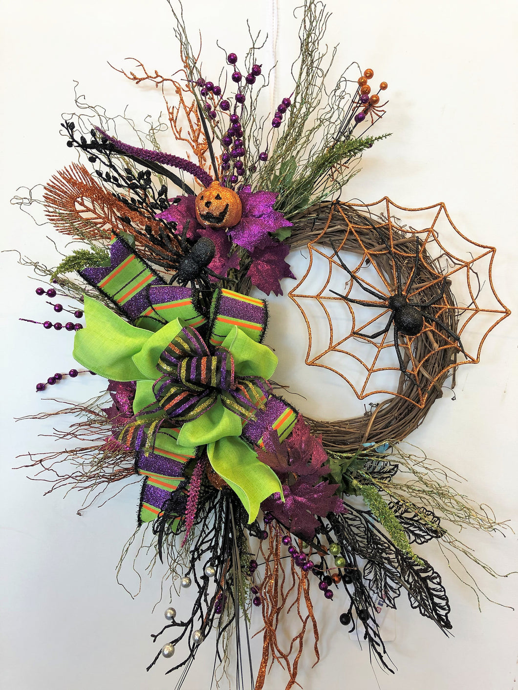 Glittery Purple, Orange and Black Halloween Cresent Wreath with Spider Web/Hal33