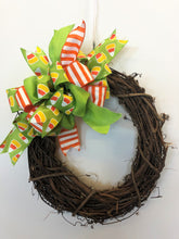 Lime, Orange and White Halloween Bow with Candy Corn Pattern for Wreaths, Doors and Home Decor/HLB01