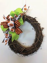 Orange, Black, Lime and White Jack O lantern Print Halloween Bow for Wreaths, Doors and Home Decor/HLB02