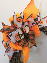 Black, Orange and White Jack O Lantern Print Halloween Bow for Wreaths, Doors and Home Decor/HLB03