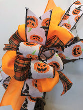 Black, Orange and White Jack O Lantern Print Halloween Bow for Wreaths, Doors and Home Decor/HLB06