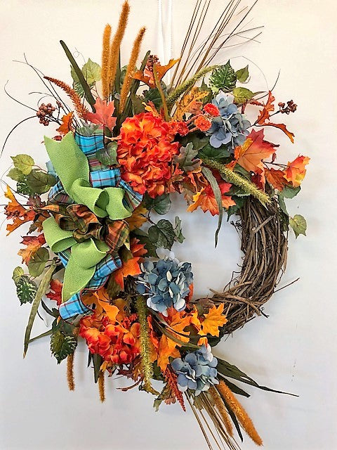 Flame and Blue Hydrangea Silk Floral Floral Fall Wreath/Harv105 - April's Garden Wreath