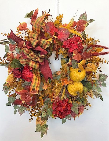 Gold and Burgundy Silk Floral Fall Front Door Wreath with Pumpkins/Harv118