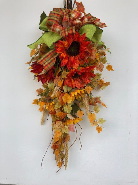 Orange and Gold Sunflower Fall Front Door Swag/Harv139 - April's Garden Wreath