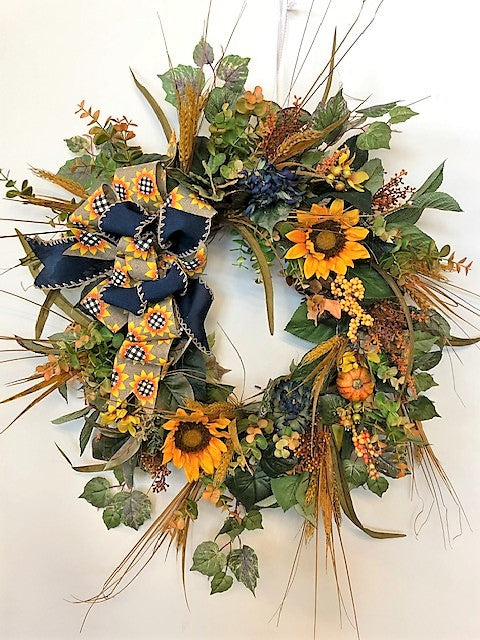 Yellow Sunflower w/ Blue Hydrangea Silk Floral Wreath/Harv151
