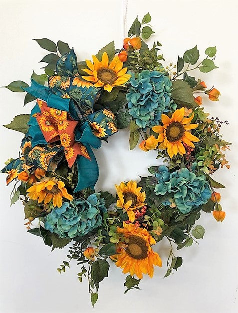 Teal Hydrangea with Gold Sunflowers Fall Silk Floral Wreath/Harv158 - April's Garden Wreath