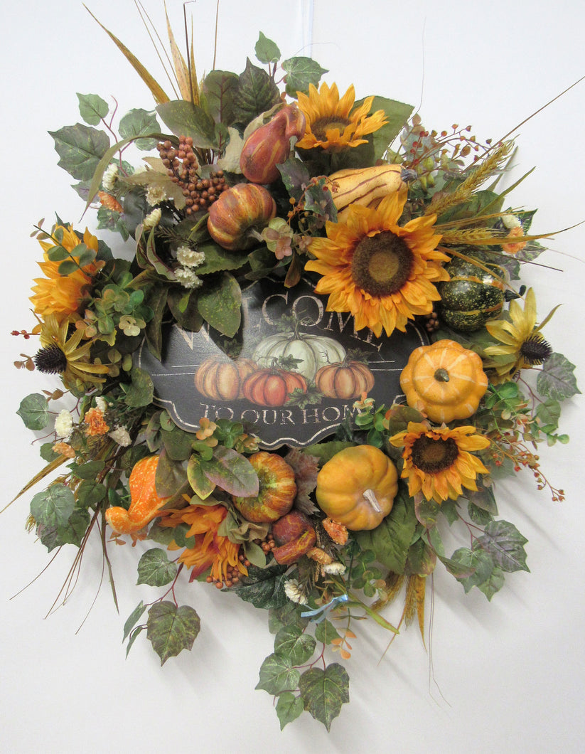 Gold Sunflower Silk Floral Fall Wreath with Welcome Plaque/Harv160 - April's Garden Wreath