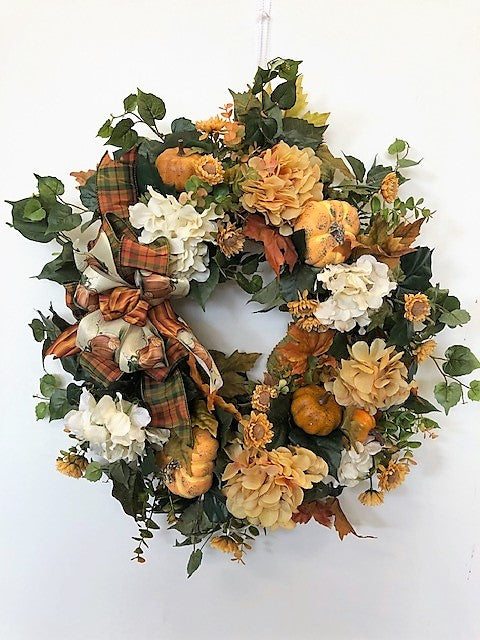 Gold and Cream Hydrangea Fall Wreath w. Pumpkins/Harv165 - April's Garden Wreath