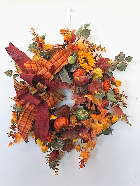 Gold and Orange Petite Fall Wreath with Sunflowers and Gourds/Harv177 - April's Garden Wreath