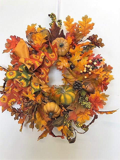 Orange and Brown Silk Floral Fall Wreath with Pumpkins/Harv181
