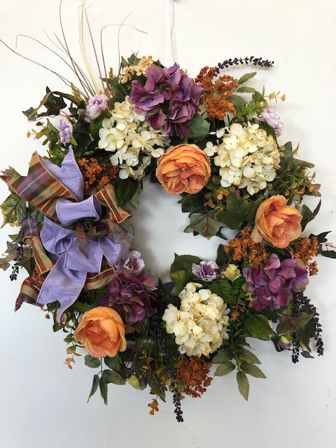 Purple, Coral and Cream Silk Floral Late Summer/Fall Wreath with Hydrangeas/Harv186 - April's Garden Wreath