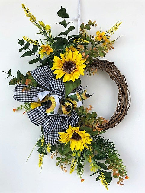 Yellow Sunflower Silk Floral Fall Crescent Wreath/Harv192