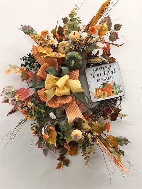 Orange and Sage Silk Floral Fall Wreath with Grateful Plaque/Harv194
