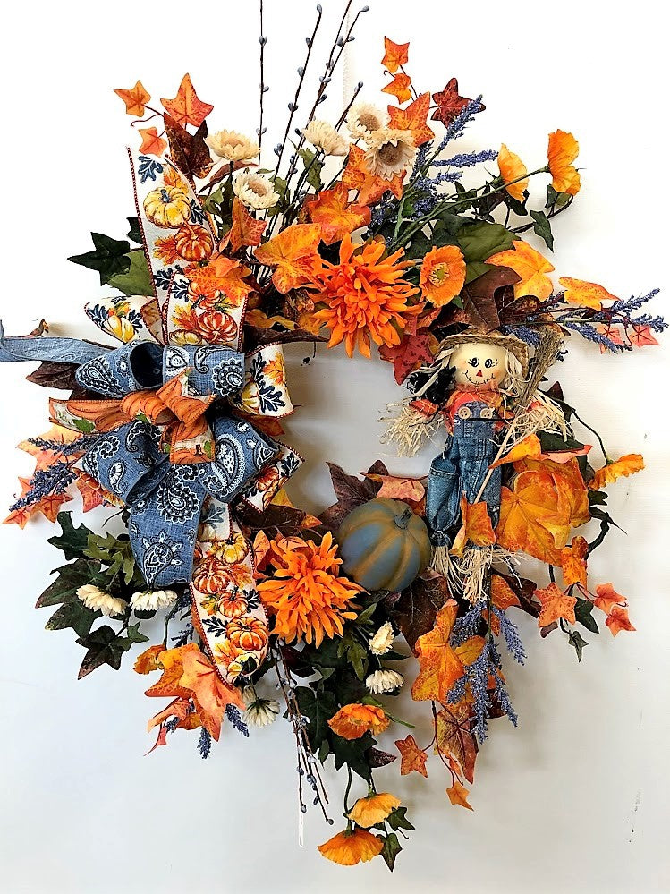 Orange and Blue Scarecrow Silk Floral Fall Wreath/Harv199