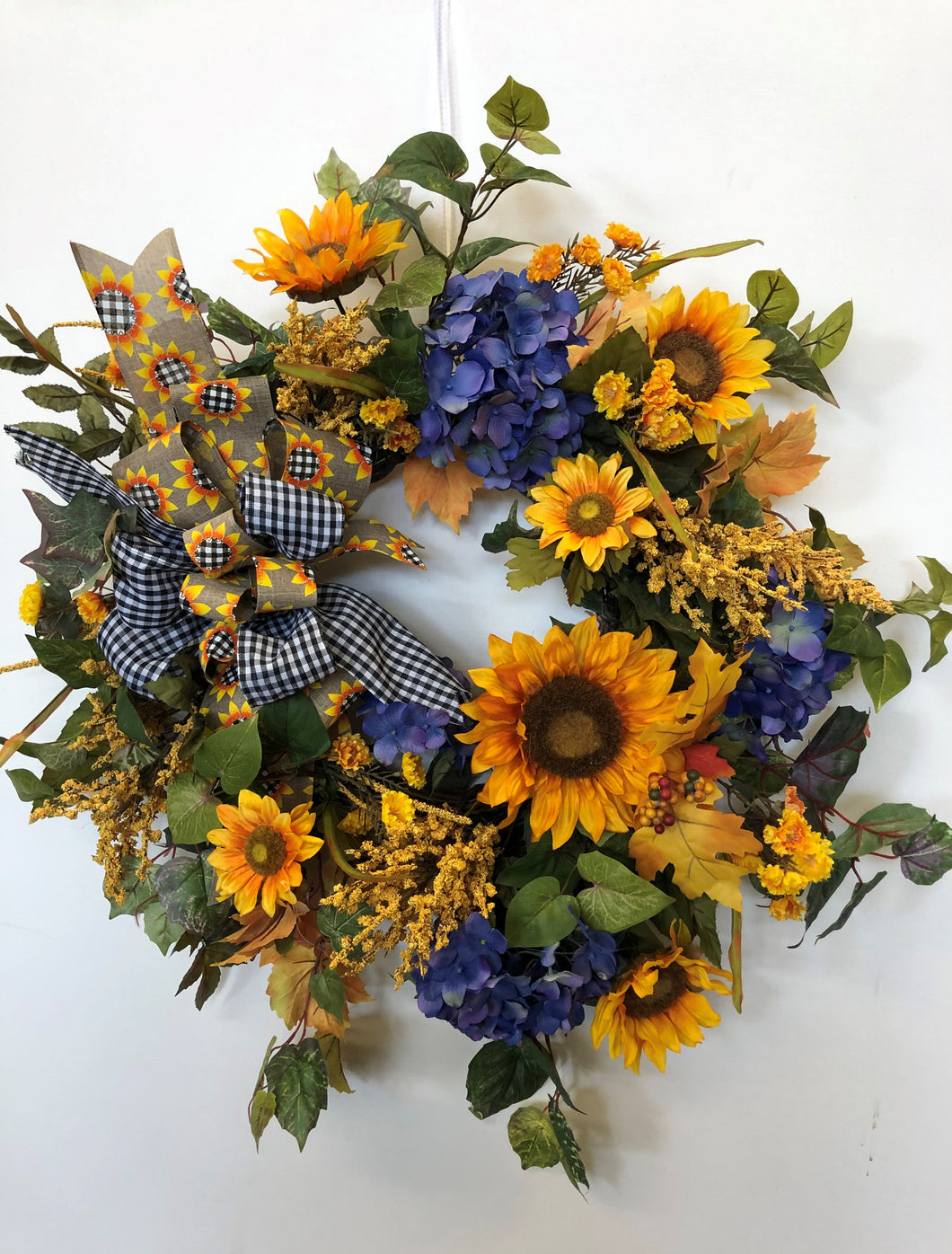 Gold Sunflower and Blue Hydrangea Silk Floral Late Summer Fall Wreath/Harv212