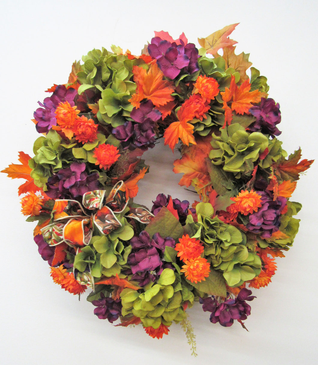 Lime and Purple Hydrangea Silk Floral Fall Wreath with Flame Strawflower/Harv29 - April's Garden Wreath