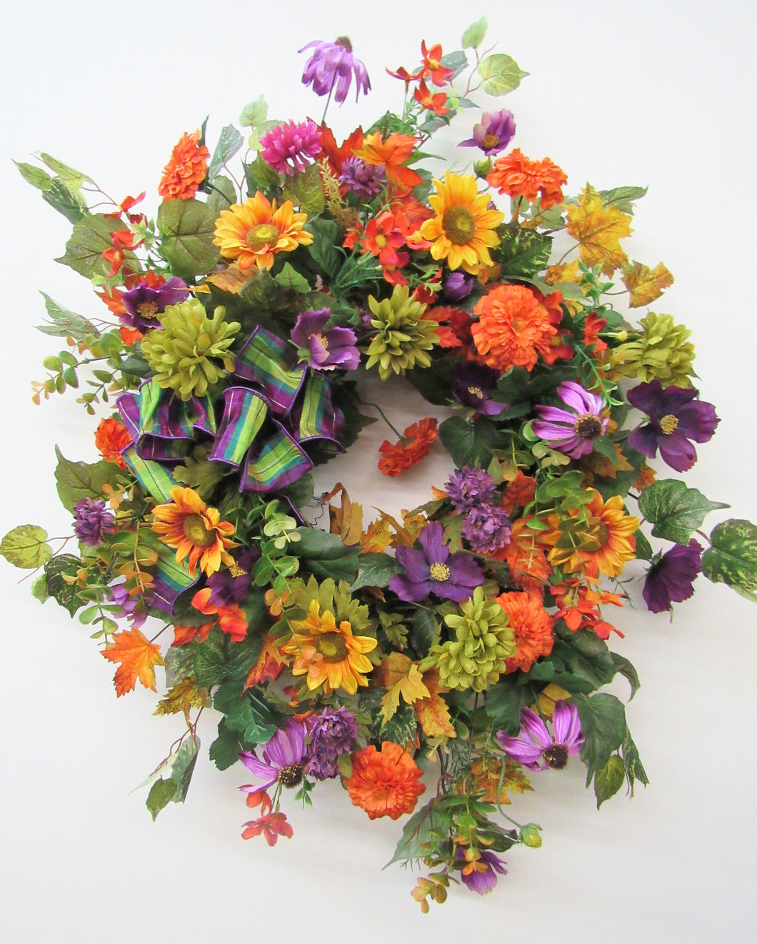 Orange and Purple Silk Floral Sunflower Fall Wreath/ Harv36 - April's Garden Wreath
