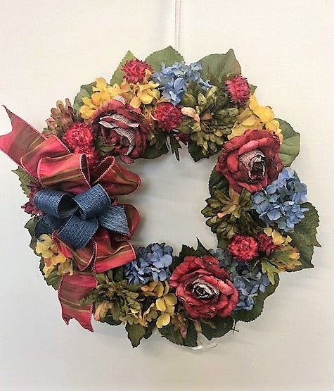 Burgundy, Red, Gold and Blue Silk Floral Fall Petite Wreath/Harv54