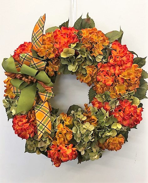 Flame, Gold and Olive Silk Floral Fall Hydrangea Wreath/Harv56 - April's Garden Wreath