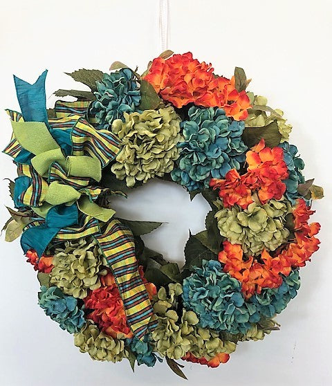 Teal, Olive, and Flame Hydrangea Silk Floral Fall Wreath/Harv59