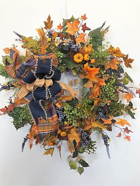 Orange, Green and Lavender Silk Floral Fall Wreath with Pumpkins/Harv74 - April's Garden Wreath