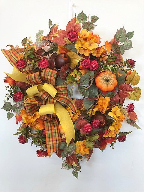 Gold and Purple Hydrangea Fall Wreath with Pumpkins/Harv7 - April's Garden Wreath