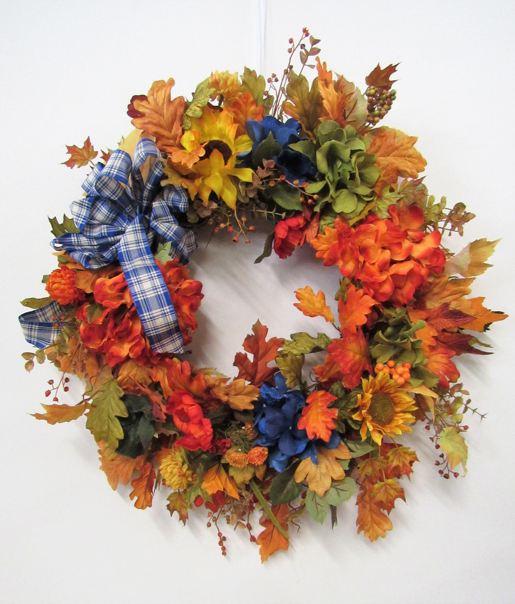 Flame, Olive, Royal Blue Fall Hydrangea Wreath/Harv82 - April's Garden Wreath