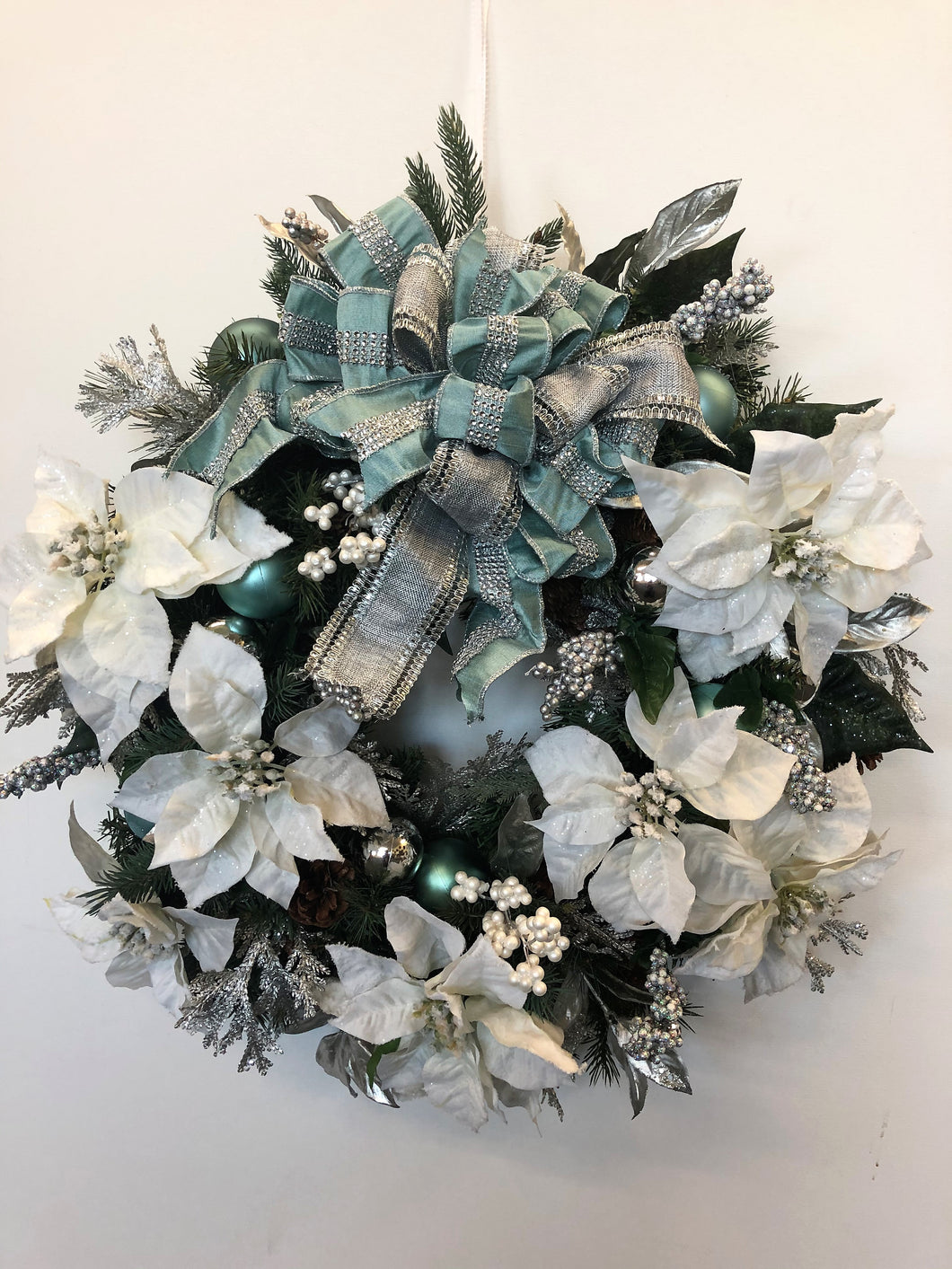 Blue and White Silk Floral Holiday Wreath with White Poinsettias/Hol07 - April's Garden Wreath