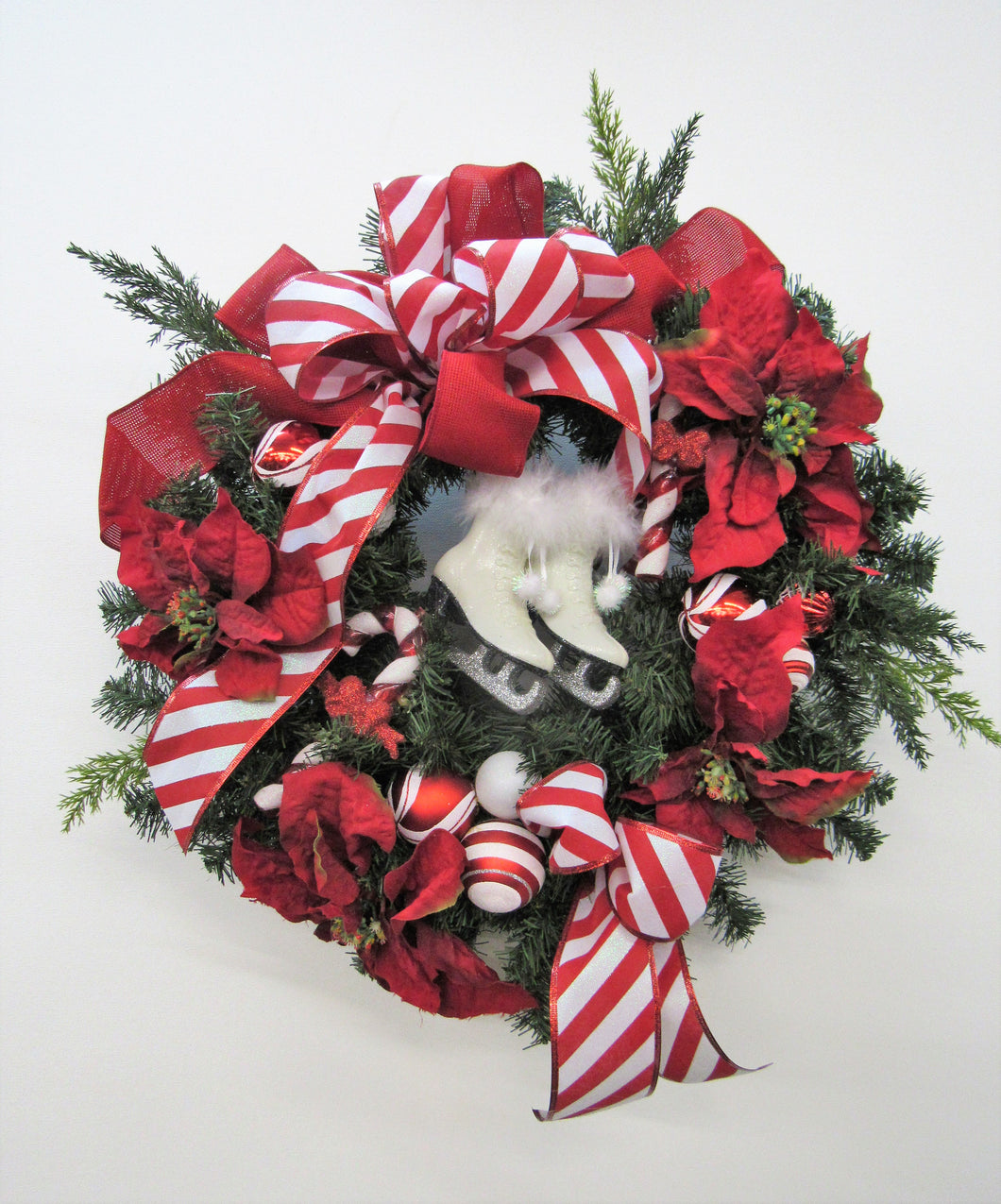 Red and White Silk Floral Holiday Wreath with Ice Skates and Ornaments/Hol103 - April's Garden Wreath