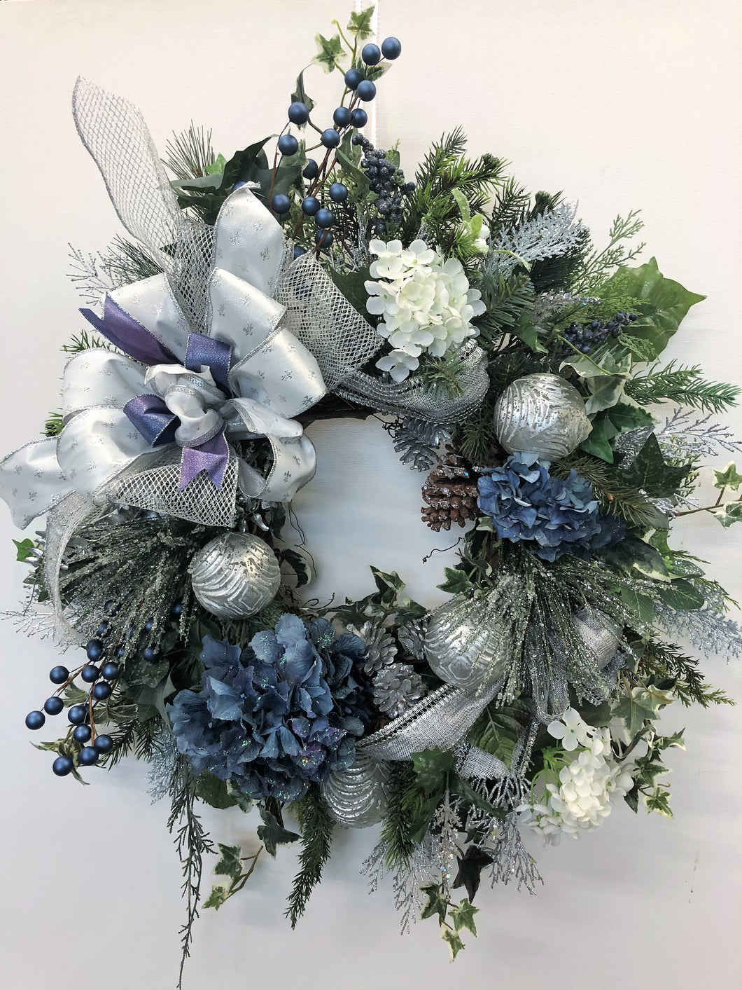 White and Blue Hydrangea Silk Floral Holiday Wreath with Silver Balls/Hol118 - April's Garden Wreath