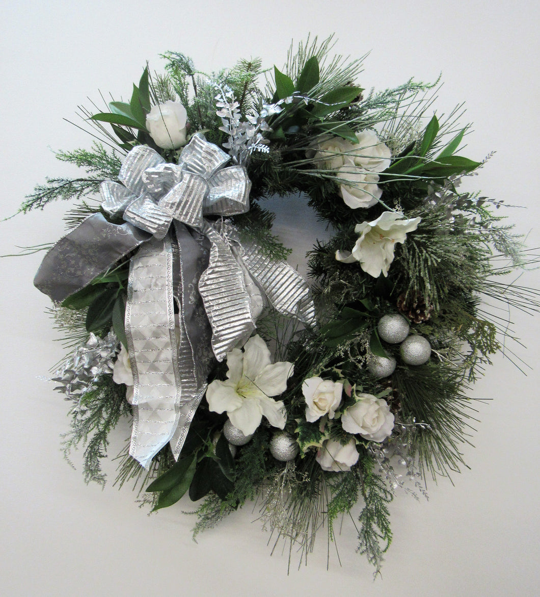 Silver and White Silk Floral Holiday Wreath/Hol11 - April's Garden Wreath