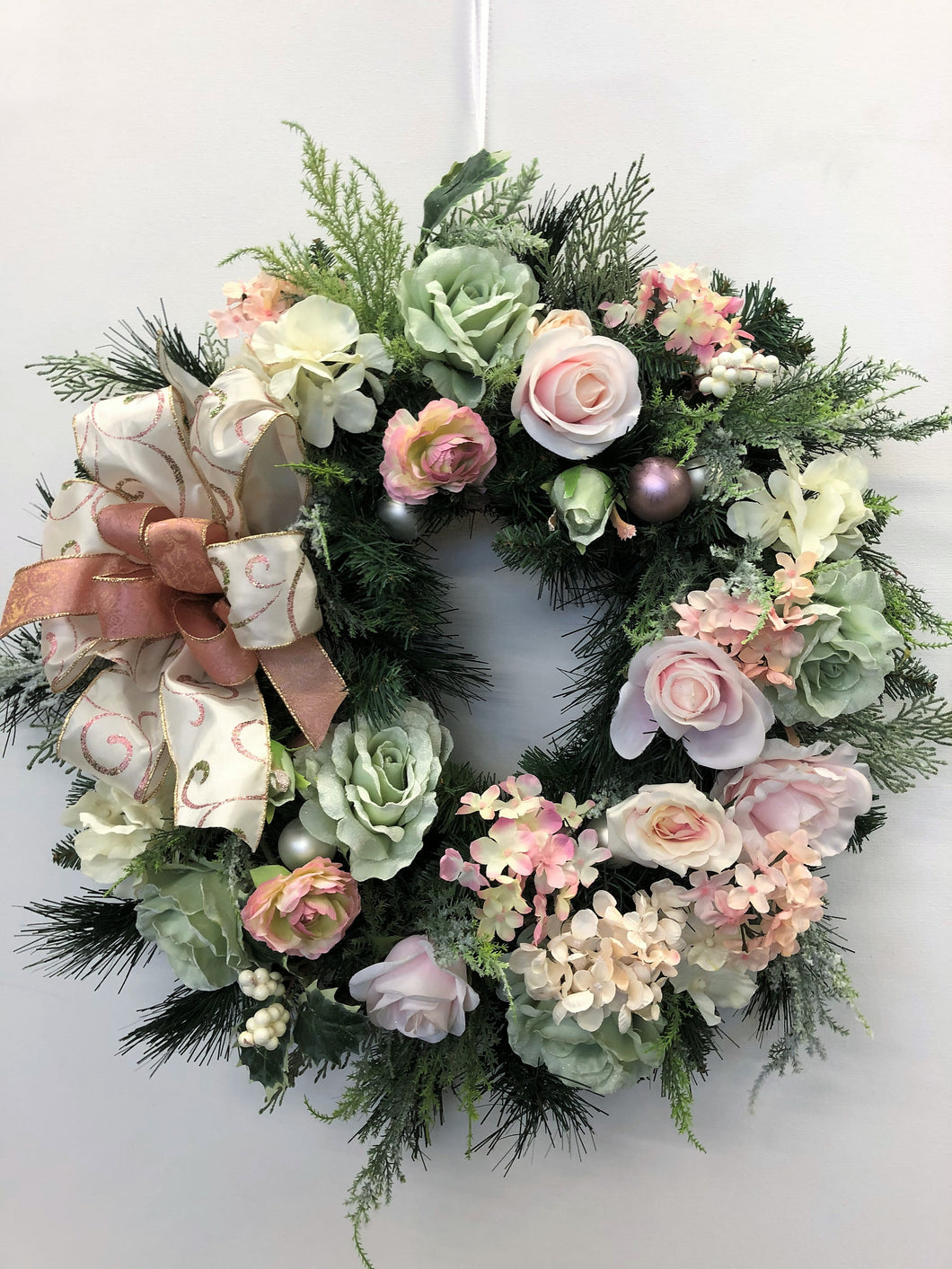 Pink, Light Green, and Cream Silk Floral Holiday Christmas Wreath/Hol120 - April's Garden Wreath