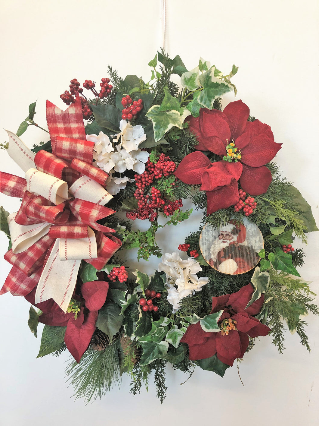 Antique Red Poinsettia Silk Floral Holiday Christmas Wreath/Hol130 - April's Garden Wreath