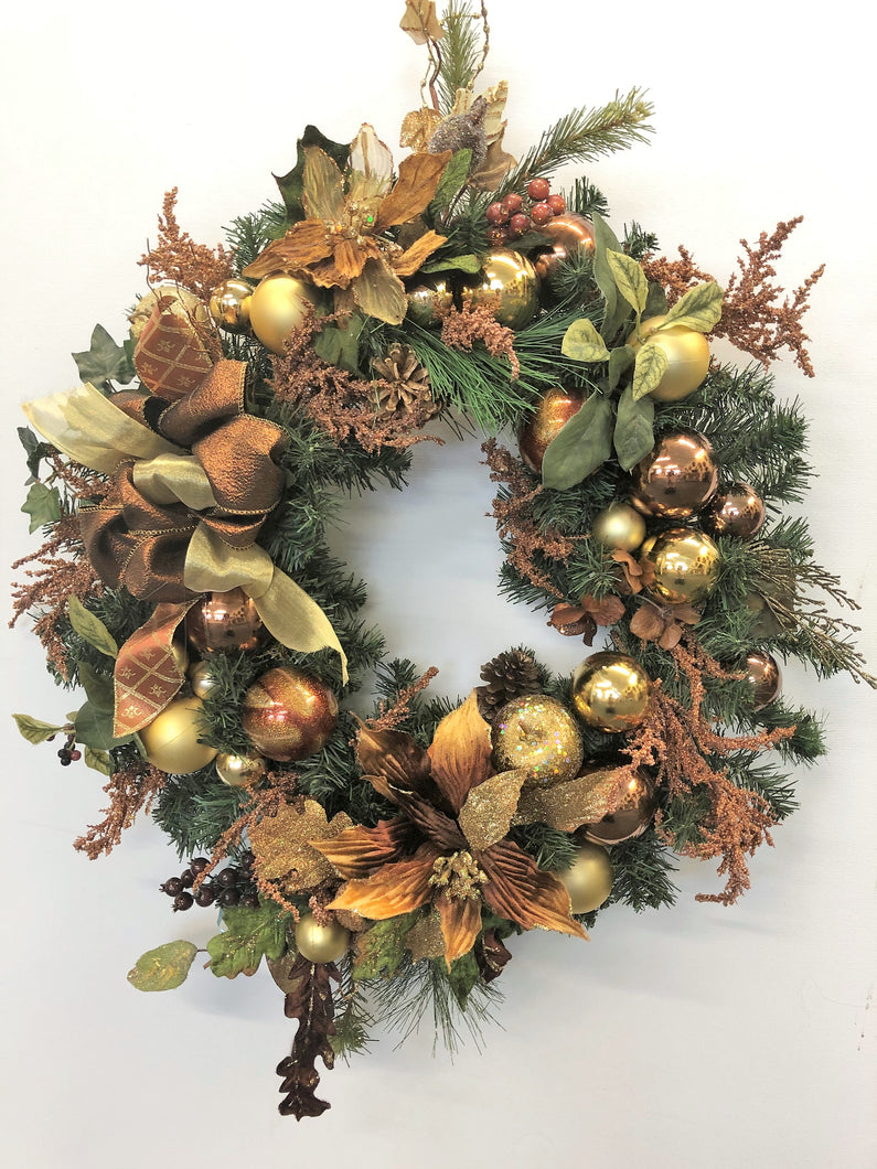 Topaz and Gold Silk Floral Winter Wreath with Fruit/Hol131 - April's Garden Wreath