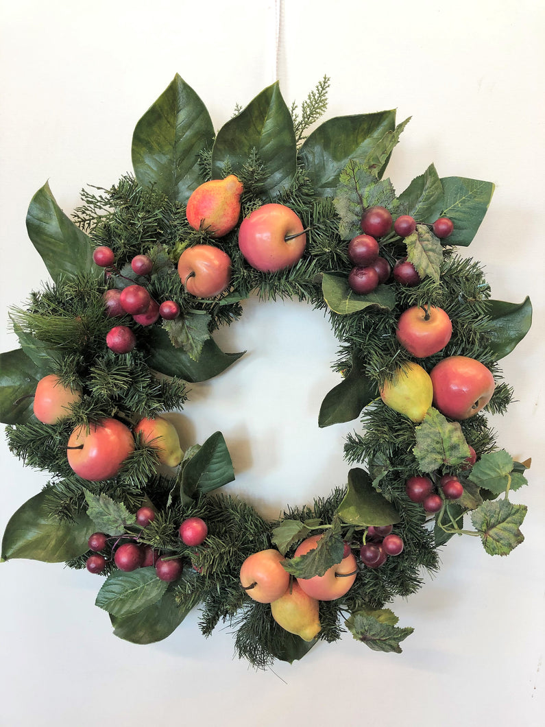 Mixed Artificial Fruit Transitional Winter Wreath/Hol132 - April's Garden Wreath