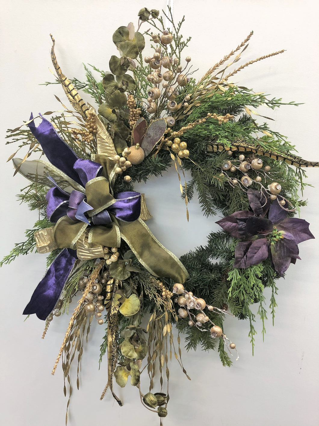 Purple and Gold Silk Floral Holiday Winter Wreath with Poinsettia/Hol136