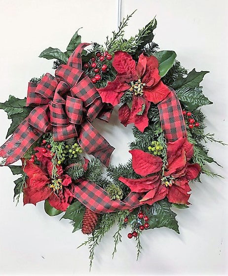 Red Country Poinsettia Silk Floral Winter Wreath with Buffalo Plaid Bow/Hol142 - April's Garden Wreath