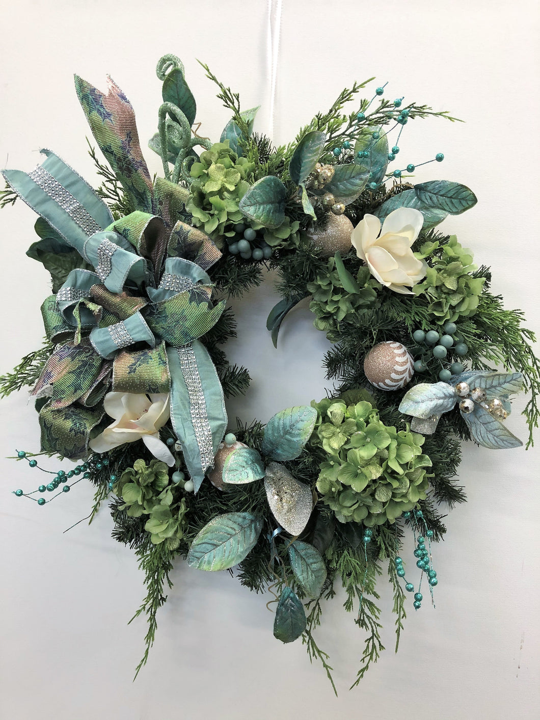 Cream Magnolia and Green Hydrangea Silk Floral Winter Holiday Wreath/Hol143