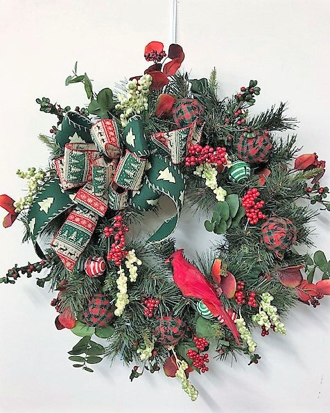 Red and Green Silk Floral Winter Wreath with Cardinal/Hol146 - April's Garden Wreath