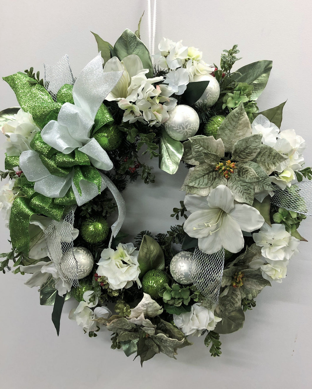 Cream and Light Green Silk Floral Holiday Wreath/Hol14 - April's Garden Wreath