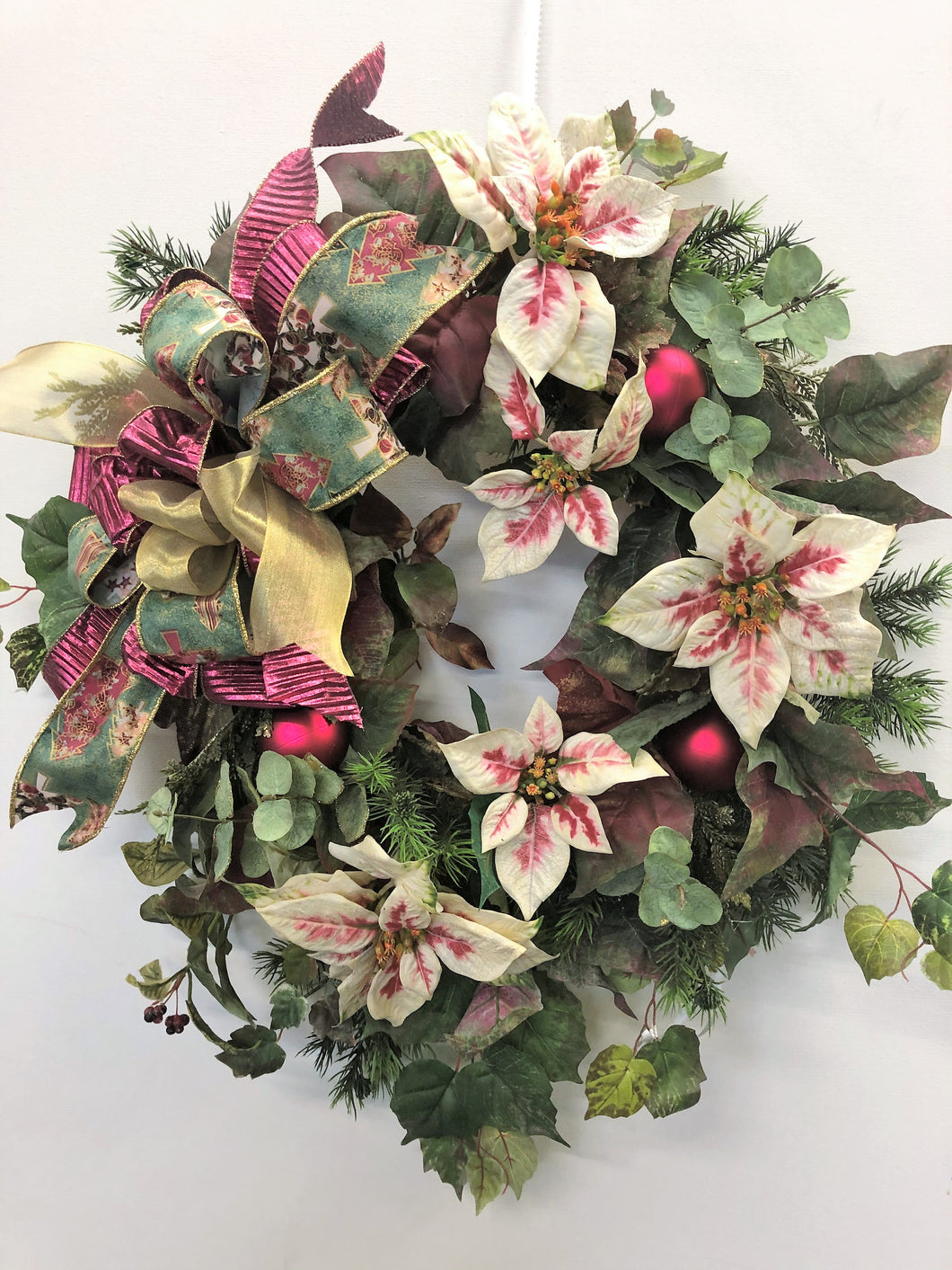 Green, Cream and Burgundy Silk Floral Holiday Wreath with Holiday Balls/Hol20